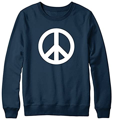 Peace Sign Slogan Hipster Mens Womens Unisex Sweatshirt Sweater Large-Navy