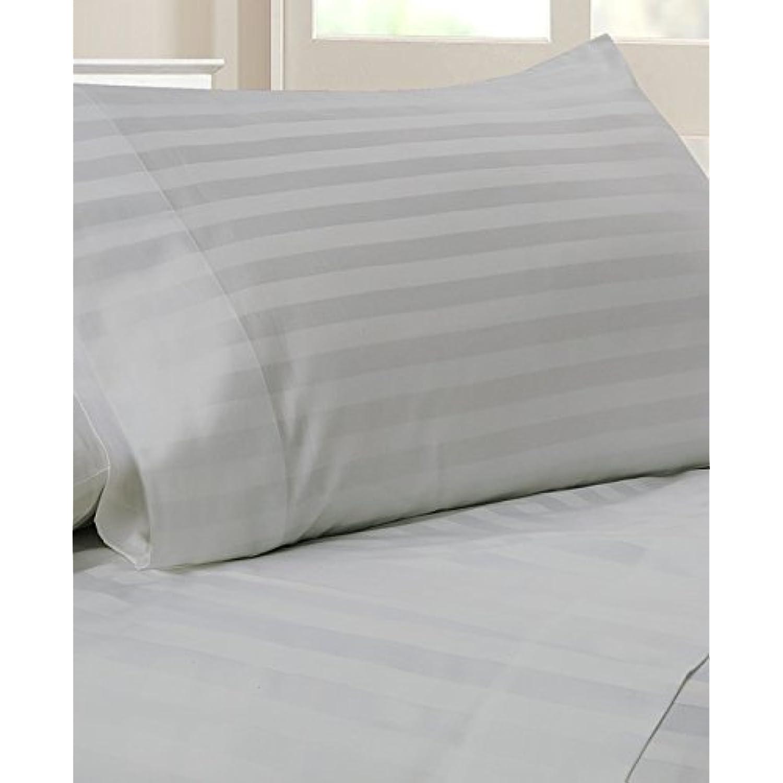 laxlinens 450 Lot de 6 fils en 45,7 coton égyptien pour lit (+ 45,7 en cm) Extra profonde poche Euro pour petit lit, à rayures Gris argenté 6cb720