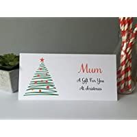 Personalised Christmas Card Money Gift Wallet Vouchers Cash Green Tree