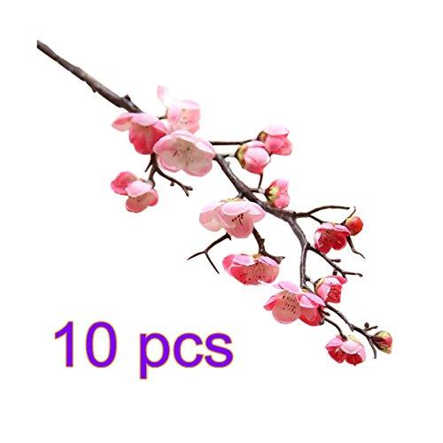 sw-ning ber1177Künstlicher Cherry Spring Plum Peach Blossom Ast Seide Blume Baum Echt für Tisch Deko Hochzeit Blumensträuße, Seide, rose, 1 Packung