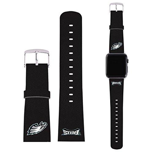 Head Case Designs Offizielle NFL Einfarbig Philadelphia Eagles Logo Schwarze Kunststoff Leder Schnalle & Gurt kompatibel mit 42mm Strap & Grey Adapter Kit - Eagle Electronics