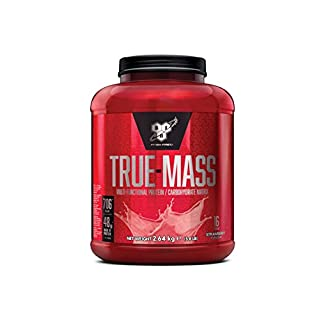 BSN True Mass Weight Gainer Whey Protein Powder with BCAA's and glutamine. Mass Gainer by BSN -  Strawberry Milkshake, 16 Servings, 2.6kg