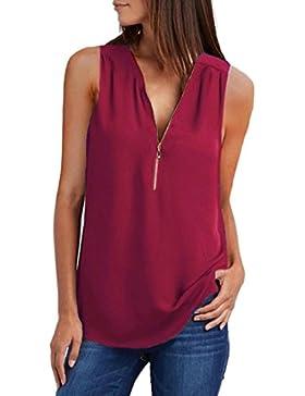 Camisas Mujer, ❤️ Amlaiworld Blusas Camisetas de Gasa Ropa de Mujer Camisas Blusas Top Camisetas Mujer Cremallera...