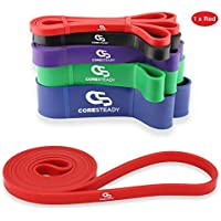 Coresteady Resistance Band - Assisted Pull Up Band - Exercise Workout Band for CrossFit – Powerlifting – Yoga – Stretch Mobility for Men and Women (RED/LIGHTEST)