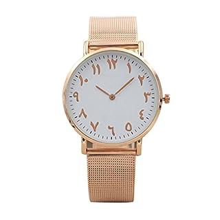 Altes arabisches Digital-Zifferblatt - Mesh Armband Uhren, Zarupeng Herren und Damen Klassisch Analog Quartz Edelstahl Uhr Armbanduhr (One Size, Rose Gold)