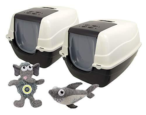PETGARD 2er Sparpack XXL Katzentoilette Orlando speziell für große Katzenrassen + 2 gratis XXL Spielzeuge