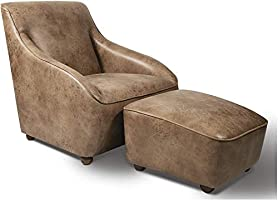 Home Canvas Roxy Arm Chair [Stone Brown] Accent Chair with Ottoman - Living Room Chair w/Solid Wood Construction |...