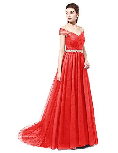 Dresstells Robe de cérémonie emperlée en tulle forme princesse avec traîne Rouge