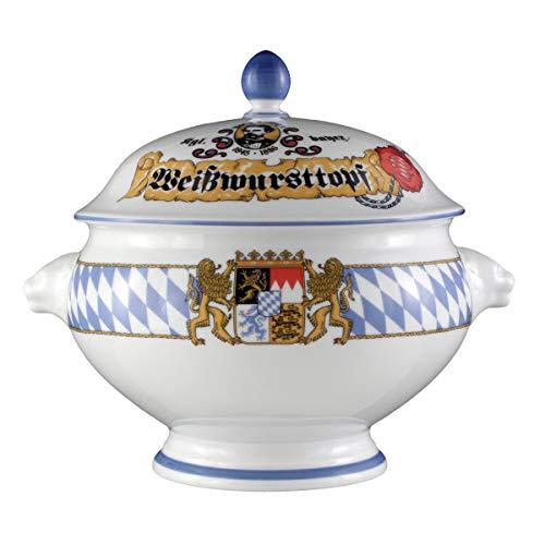 Seltmann Weiden Löwenkopfterrine mit Deckel Compact Bayern, Hartporzellan, Blau/Weiß/Gelb/Rot, 26.5 x 21.7 x 21.5 cm