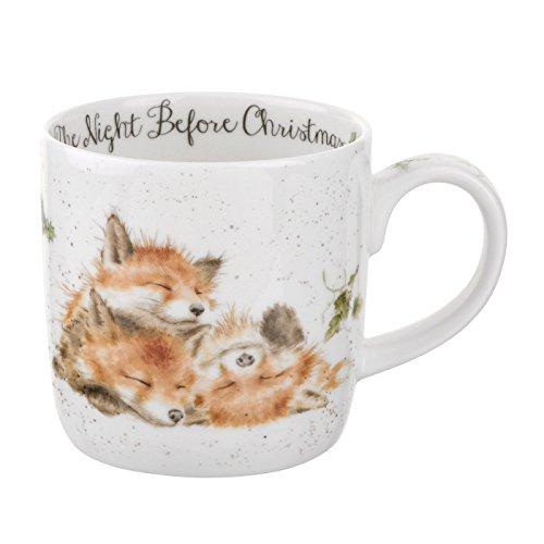 Wrendale por Royal Worcester taza la noche antes de Navidad, multicolor