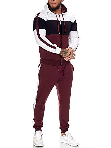 OneRedox | Herren Trainingsanzug | Jogginganzug | Sportanzug | Jogging Anzug | Hoodie-Sporthose | Jogging-Anzug | Trainings-Anzug | Jogging-Hose | Modell JG-1082 Weiss-Schwarz-Bordeaux S