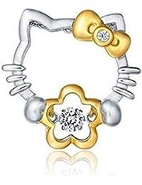 c8b7b679bb06 MUATE 925 Plata esterlina circón Colgante Hello Kitty Gato Lindo Collar  Regalo de Damas