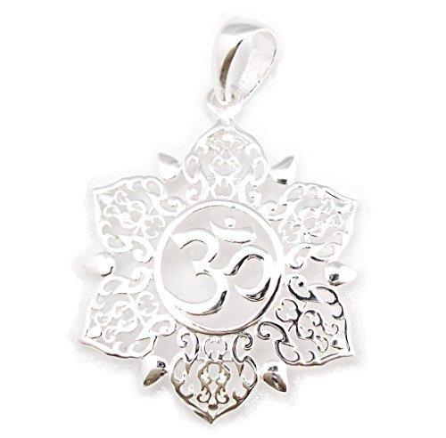 Dije Símbolo Hindú Mantra Om Aum Omkara, Colgante En Flor De Plata Esterlina 925 (P043)
