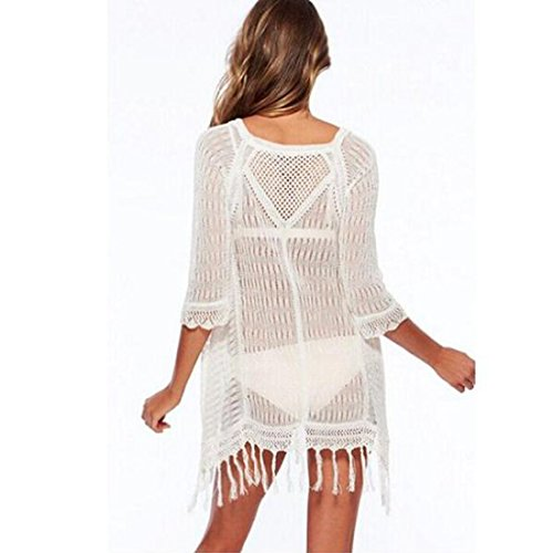 JXLOULAN Les femmes maillot de bain de bikini de dentelle Glands Maillots Cover Up Beach Dress Blanc