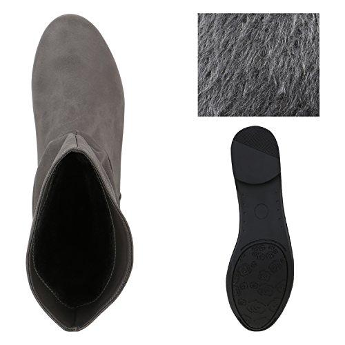 Damen Schlupfstiefel Nieten Stiefeletten Lederoptik Khaki