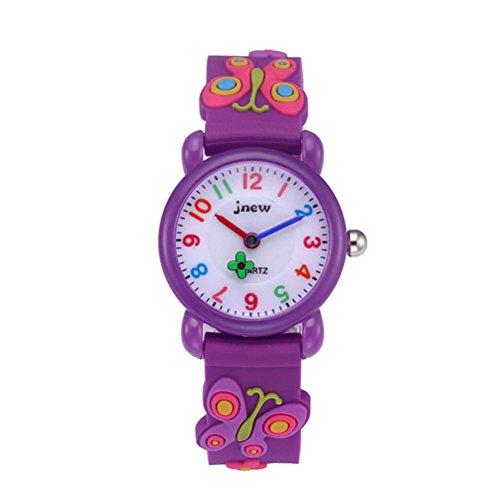 BESPORTBLE 3D Cartoon Uhr Nette Schmetterling Kinder Quarzuhr Silikonkautschukband Armbanduhr Student Zeit Uhr Armbanduhr für Jungen Mädchen (Lila)