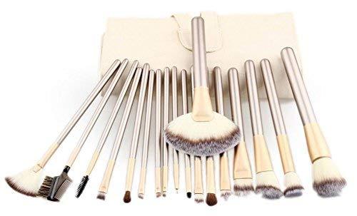 18 Pcs Maquillage Pinceau Professionnel Premium Set Blanc Sac De Cas De couleur crème (18pcs)