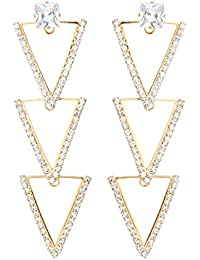 Moedbuille CZ Studded Designer Party Wear Ethnic Fusion Western Design Gold Plated Hanging Stone Encrusted Fancy...