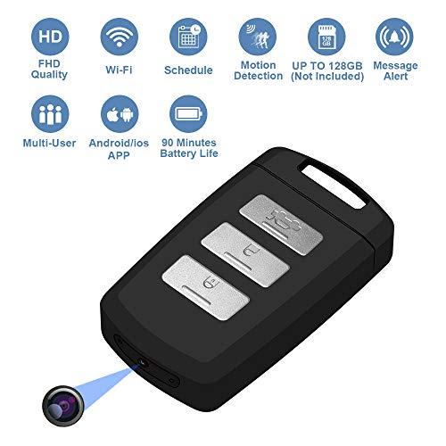Telecamera nascosta keychain wi-fi videocamera 1080p fhd motion portable mini videocamera con registrazione video in diretta su smartphone e programmare micro sd card support ip keyfob camera