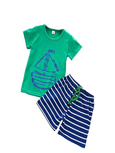 Babykleidung Honestyi 1 Satz Sommer Casual Kinder Kind Kleinkind Cartoon T Shirt + Strand Shorts Hosen (Blau,110)