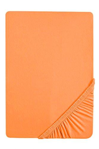 biberna 2744 Biber Spannbetttuch, Reaktiv gefärbt, nach Öko-Tex Standard 100, ca. 180 x 200 cm bis 200 x 200 cm, nektarine