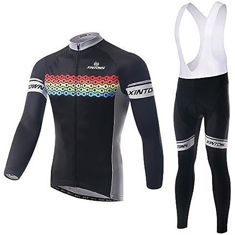 XINTOWN manica lunga ciclismo maglia 3D imbottito Bib Pants Set, inverno all'aperto caldo pile abbigliamento sportivo , xxl