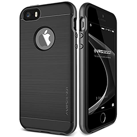 iPhone SE Hülle, VRS Design® Schutzhülle [Schwarz] Schlagfesten Stoßstangen TPU Bumper Case Kratzfeste Schlanke Handyhülle [High Pro Shield] für Apple iPhone 5/5S/SE