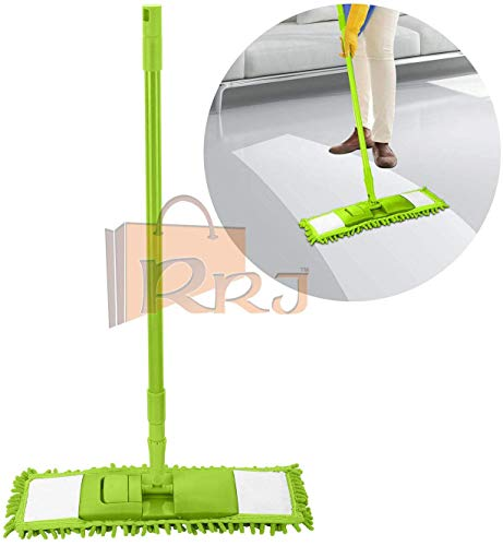 RRJ Wet and Dry Cleaning Flat Microfiber Floor Cleaning Mop with Telescopic Long Handle Dry Mop, Standard (Pack of 1 Piece, Multicolour)