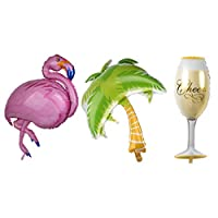 F Fityle Large Tropical Coconut Tree Balloon with Leaves Balloon for Summer Beach Party Decorations - Coconut Tree + Flamingo + Cup