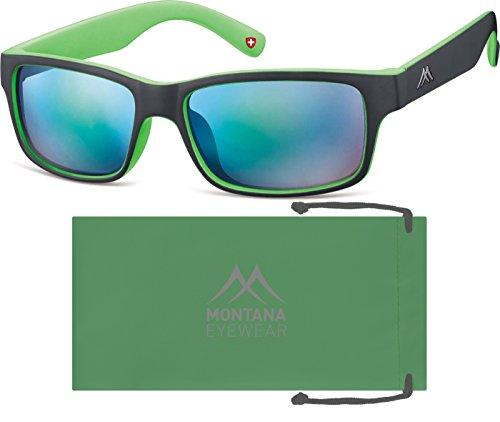 Montana Eyewear Sunoptic MS27E Sonnenbrille in schwarz+grün, inklusive Softetui
