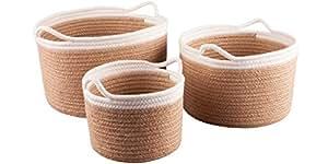 Lot de 3panier rond paniers de rangement et comme Espace de rangement dans les couleurs Gris et Blanc–Le plus grand panier est de 30cm x 30cm x 21cm en coton par la Société Wittkemper