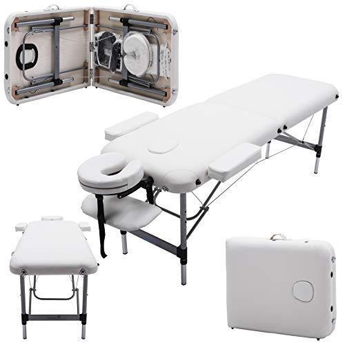 Massage Imperial® - tragbare Massageliege Knightsbridge - Aluminium - 10 kg - 7 cm Schaumstoff - Elfenbein weiß