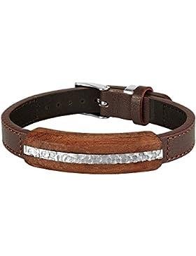 WEST SIDE Leder Armband Braun Holz Edelstahl