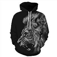 Zhengq Men/Women 3D Sweatshirts Print Ferocious Lion Black Thin Autumn Winter Hooded Hoodies Pullovers Tops