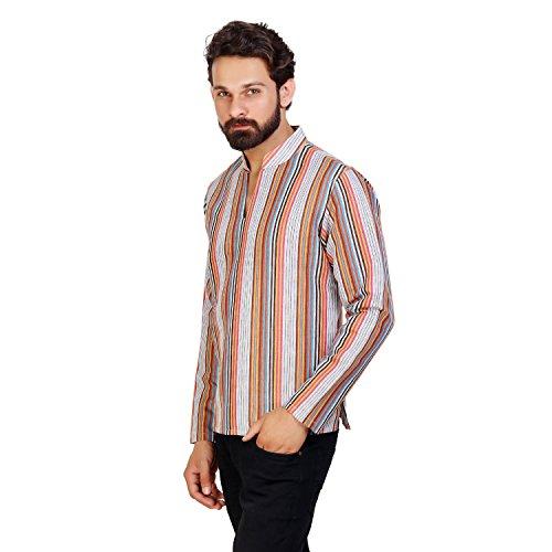 ALDIVO ® Men's Linen Cotton Designer Short Kurta / Striped linen Kurta / RED BLUE WHITH (X-Large)  available at amazon for Rs.449