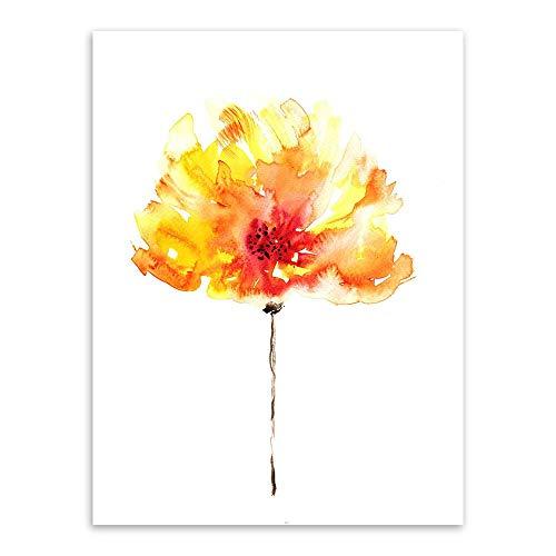 ZCHPDD Moderne Wohnzimmer Poster Nordischen Einfache Aquarell Pflanze Blume Rose Iris Blume Malerei Rahmen Dekorative Malerei Kern B 40X50 cm - Iris Nebel