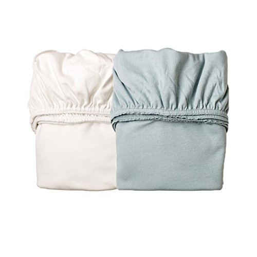 Preisvergleich Produktbild 2er-Pack Laken Spannbetttücher für die Leander-Babywiege, Farbe: 1x misty blue + 1x weiß