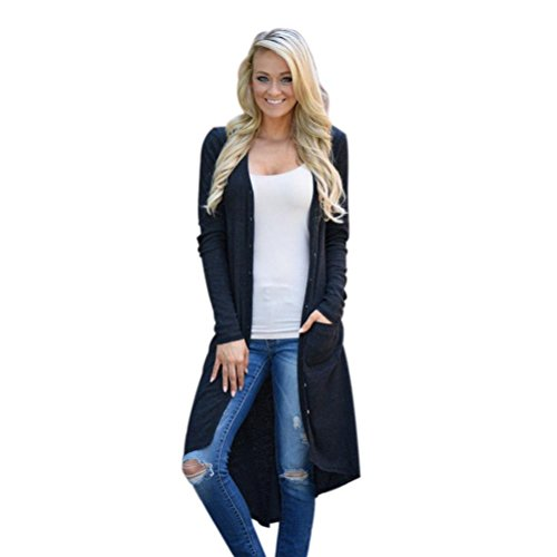 VENMO Frauen lose Pullover Langarm-Strickjacke Outwear Jacke Mantel Sweatshirt Koreanisch Langarm Frauen Dünne Strickjacke Mantel Jacke Outwear Knitted Cardigan Sweater Hoodie Bluse Top (Black, XL) (Kontrast Baumwolle Farbe)