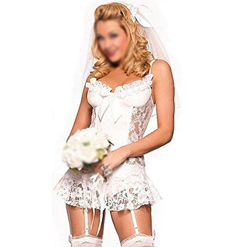SODIAL(R) Weisse Braut Sexy Dessous Unterwaesche + Strumpfband + T Hosen + Haar Zubehoer Cosplay erotische Dessous sexy Kostueme fuer Frauen (Sexy Braut Kostüm)