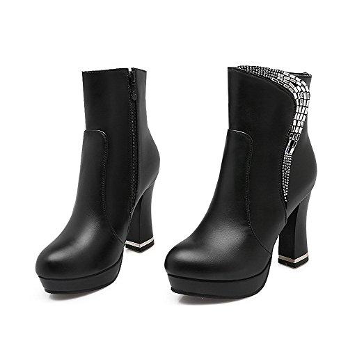 AllhqFashion Damen Reißverschluss Mattglasbirne Eingelegt Niedrig-Spitze Stiefel, Schwarz-PU, 38
