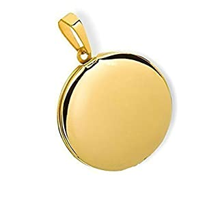 HausderHerzen Medaillon rund Hochglanz Edelstahl für 2 Fotos Anhänger Amulett-PVD Gold