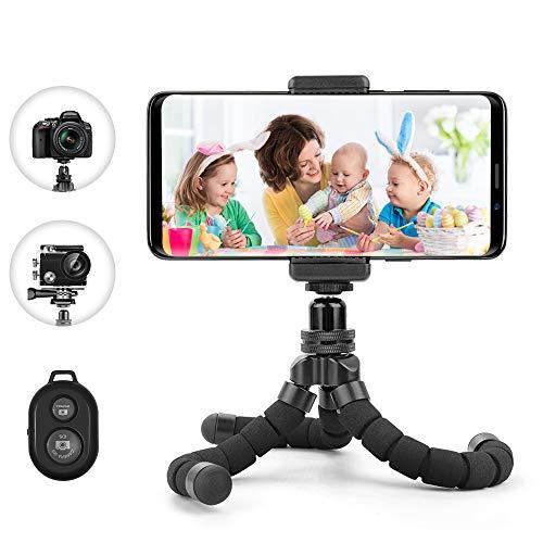 andy Stativ,Flexibel Halterung Kamera Stativ Mini Dreibeinstativ Reisestativ mit Bluetooth Fernbedienung für iPhone, Android Phones, Kameras, und GoPro ()