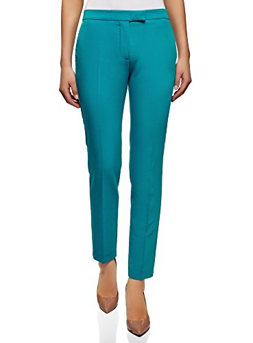 Oodji collection donna pantaloni classici stretti, turchese, it 44 / eu 40 / m