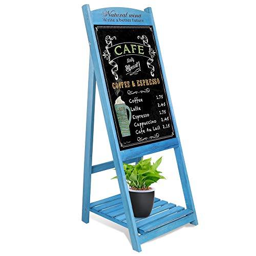 Unho Kundenstopper Holz Aufsteller Kreidetafel Werbetafel magnetische Werbeaufsteller Gehwegaufsteller mit Blumenregal für Kaffee Bar Restaurant Hotel Buchhandlung- Blau