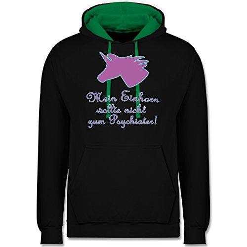 Einhörner - Einhorn - mein Einhorn wollte nicht zum Psychiater - Kontrast Hoodie Schwarz/Grün
