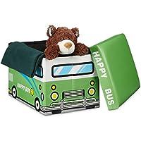 Preisvergleich für Relaxdays Faltbare Spielzeugkiste Happy Bus HBT 32 x 48 x 32 cm Stabiler Kinder Sitzhocker als Praktische Spielzeugbox Kunstleder mit Stauraum ca. 37 l und Deckel Zum Abnehmen für Kinderzimmer, grün