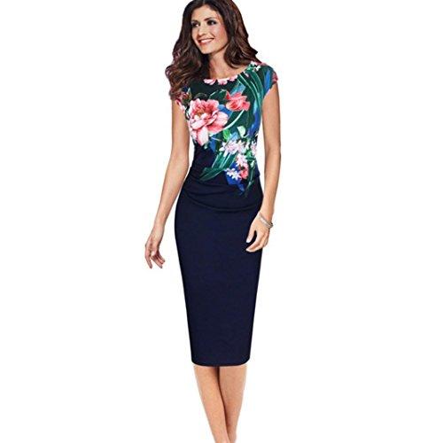 Kleid Damen,Binggong Frauen Sleeveless Rundhals Druck Mantel Büro Dame Formal Business Dress Reizvoller Schlank Kurzes Kleid (L, Marine)