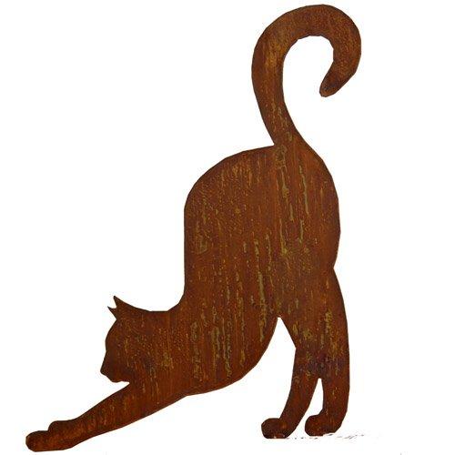 Chat en patine streckend «se» sur platine 50 x 40 cm