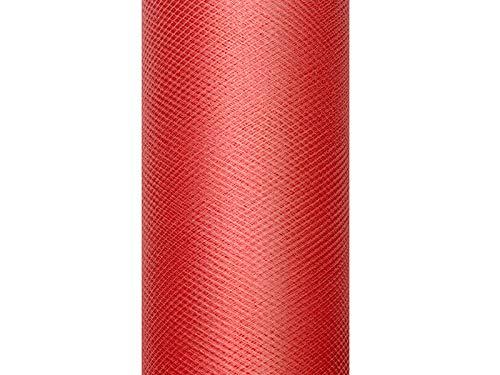 Selbstgemacht Kostüm Karneval - Tüll Dekostoff Hochzeit Tisch Geschenk Verpackung 9 m auf einer Rolle 15 cm breit (rot)