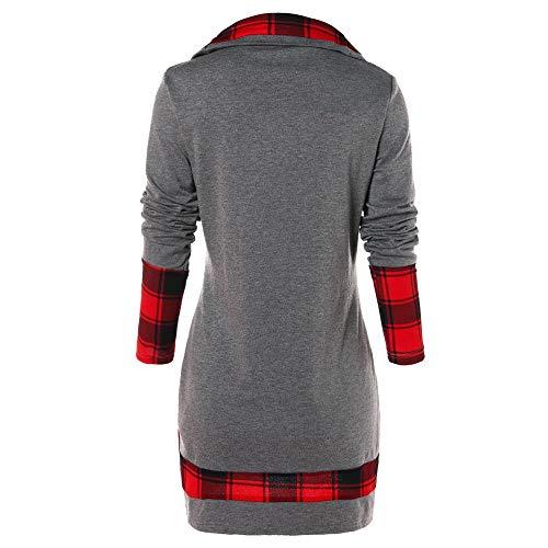 MOTOCO Frauen Langarm Plaid Rollkragen Unregelmäßige Tartan Tunika Sweatshirt Pullover Tops Bluse(S,Grau)